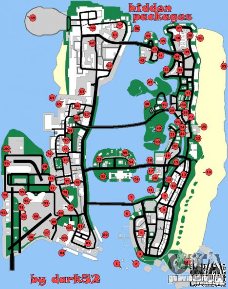 Карта скрытых пакетов для GTA Vice City