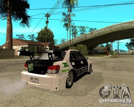 Subaru Impreza Elemental Attack для GTA San Andreas вид сзади слева
