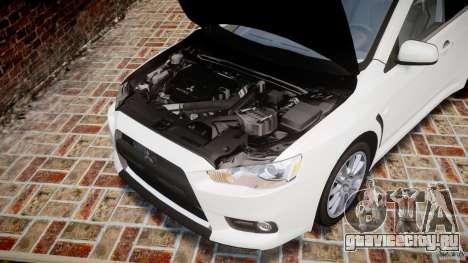 Mitsubishi Lancer Evolution X для GTA 4 вид изнутри