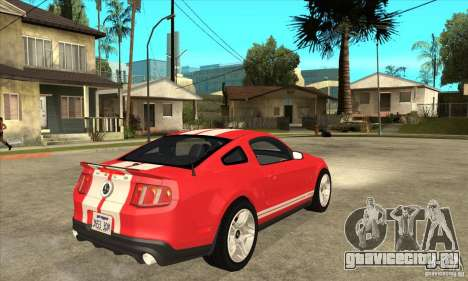Ford Mustang Shelby GT500 2011 для GTA San Andreas вид сзади