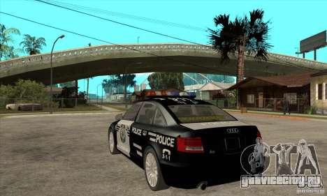 Audi A6 Police для GTA San Andreas вид сзади слева