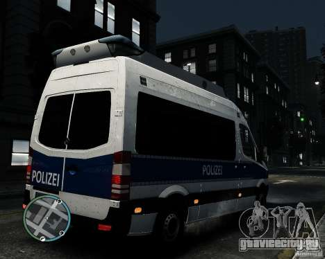 Mercedes Sprinter German Police для GTA 4 вид справа