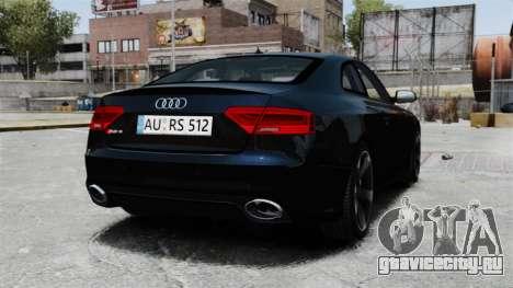 Audi RS5 2012 для GTA 4 вид сзади слева