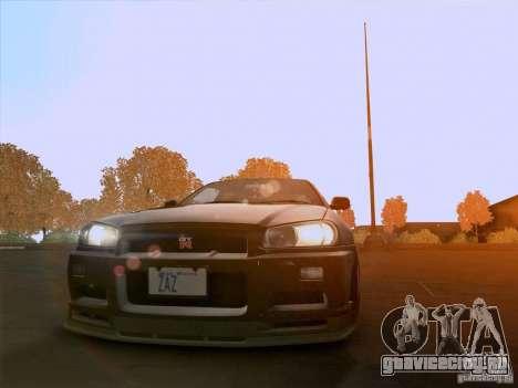 Nissan Skyline GTR R34 для GTA San Andreas вид справа