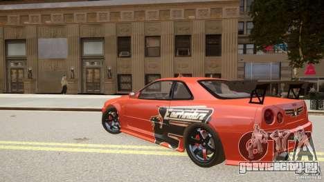 Nissan Skyline GT-R R34 Underground Style для GTA 4 вид сзади слева