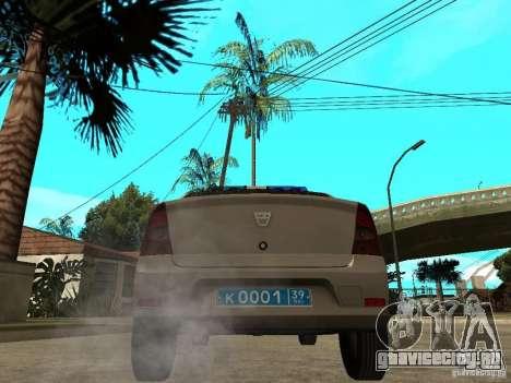 Dacia Logan Police для GTA San Andreas вид сзади слева