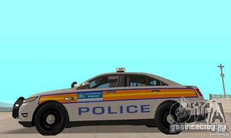 Ford Taurus 2011 Metropolitan Police Car для GTA San Andreas вид сзади слева