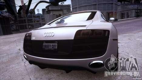 Audi R8 V10 для GTA 4 вид изнутри