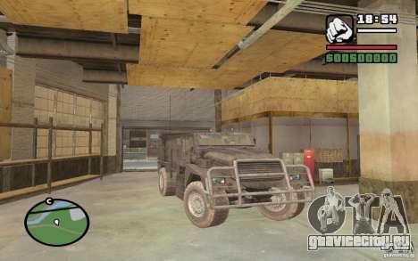 Военный грузовик для GTA San Andreas вид справа