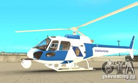 AS-350 Police для GTA San Andreas вид сзади слева