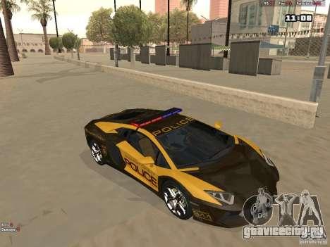 Lamborghini Aventador LP700-4 Police для GTA San Andreas вид слева