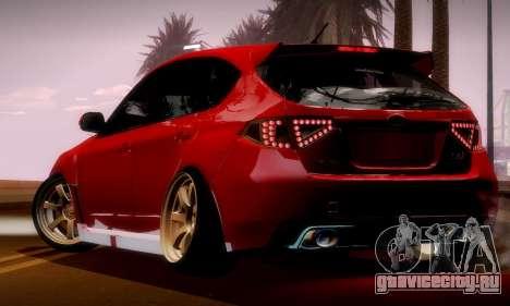 Subaru Impreza WRX Camber для GTA San Andreas вид изнутри