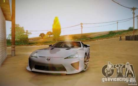 Lexus LFA для GTA San Andreas вид изнутри