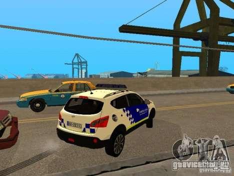 Nissan Qashqai Espaqna Police для GTA San Andreas вид справа