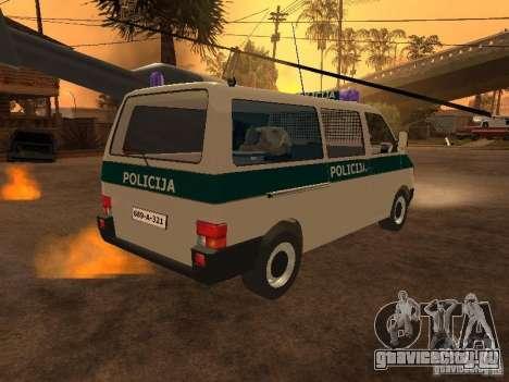 Volkswagen Transporter T4 Bosnian police для GTA San Andreas вид сзади слева