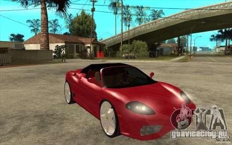 Ferrari 360 Spider для GTA San Andreas вид сзади