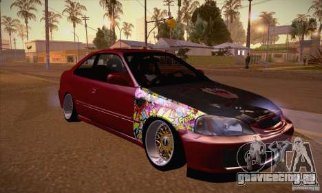 Honda Civic Tuning 2012 для GTA San Andreas вид сзади