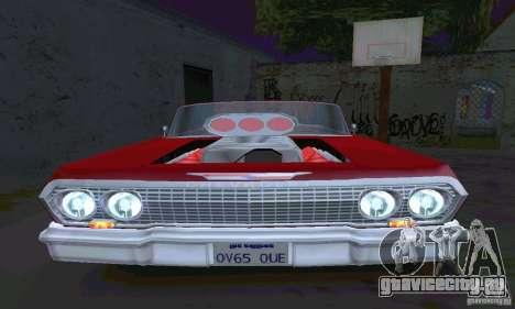 Chevrolet Impala 1963 Lowrider Charged для GTA San Andreas вид сзади