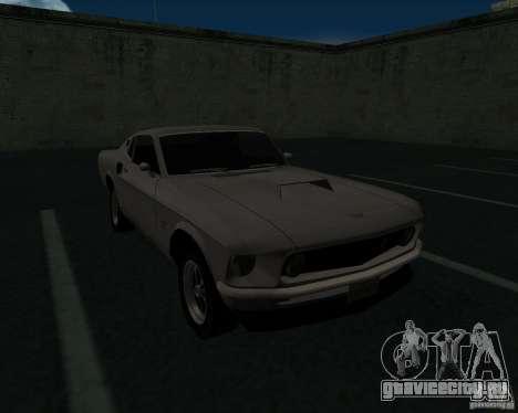 Ford Mustang Boss 1969 для GTA San Andreas вид изнутри