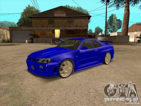 Nissan Skyline GT-R R34 from FnF 4 v.2.0 для GTA San Andreas вид слева