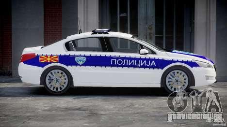 Peugeot 508 Macedonian Police [ELS] для GTA 4 вид слева