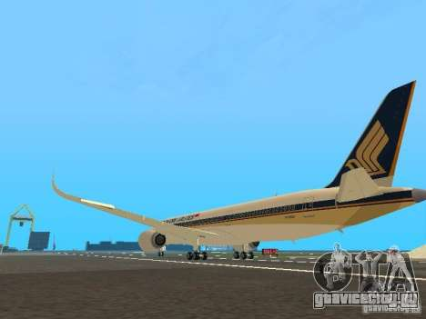 Airbus A350-900 Singapore Airlines для GTA San Andreas вид сзади слева