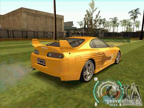 Toyota Supra from 2 Fast 2 Furious для GTA San Andreas вид сзади