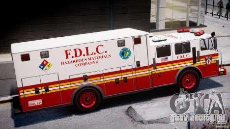 LCFD Hazmat Truck v1.3 для GTA 4 вид сзади слева