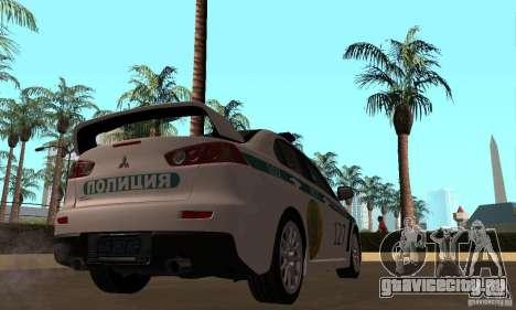 Mitsubishi Lancer Evolution X Полиция Казахстана для GTA San Andreas вид сзади