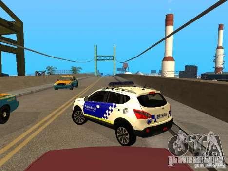 Nissan Qashqai Espaqna Police для GTA San Andreas вид сзади слева