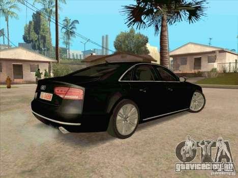 Audi A8 2010 для GTA San Andreas вид сзади