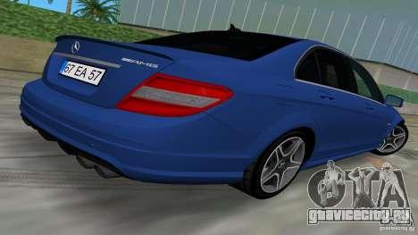 Mercedes-Benz C63 AMG 2010 для GTA Vice City вид изнутри