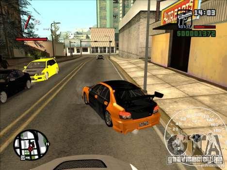 Subaru Impreza WRX Sti 2006 Elemental Attack для GTA San Andreas вид сзади слева