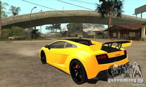 Lamborghini Gallardo LP570 Super Trofeo Stradale для GTA San Andreas вид сзади слева