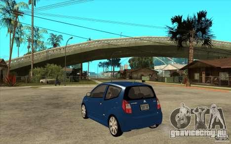 Citroen C2 - Stock для GTA San Andreas вид сзади слева