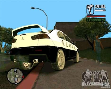 Mitsubishi Lancer EVO X Japan Police для GTA San Andreas вид сзади