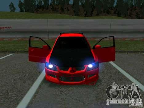 Mitsubishi Lancer Drift для GTA San Andreas вид изнутри
