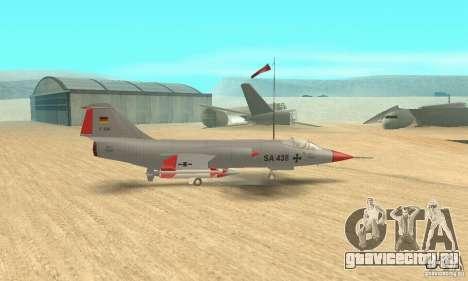 F-104 Super Starfighter(серого цвета) для GTA San Andreas вид сзади слева