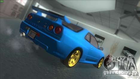 Nissan Skyline GTR-34 для GTA San Andreas вид сзади слева