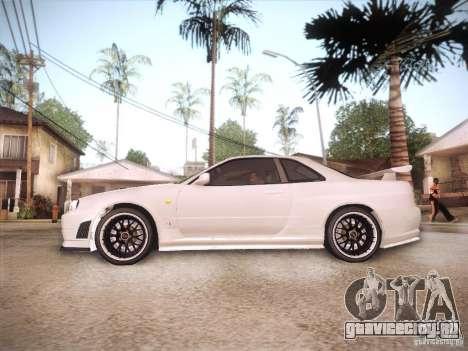 Nissan Skyline R34 для GTA San Andreas вид сзади слева