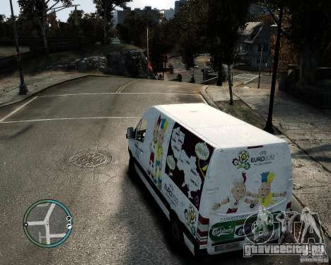 Euro 2012 Bus Mercedes Sprinter для GTA 4 вид изнутри