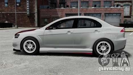 Mitsubishi Lancer Evolution X ToneBee Designs для GTA 4 вид слева