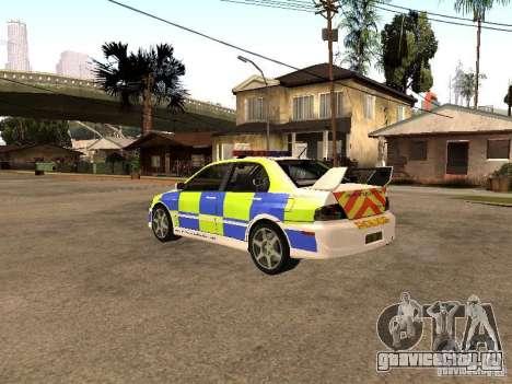 Mitsubishi Lancer EVO 8 Uk Policecar для GTA San Andreas вид слева