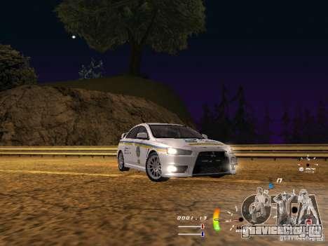 Mitsubishi Lancer Evolution X ДПС для GTA San Andreas вид сзади слева