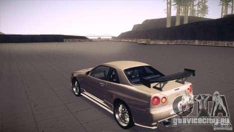 Nissan Skyline R34 для GTA San Andreas двигатель