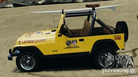 Jeep Wrangler 1988 Beach Patrol v1.1 [ELS] для GTA 4 вид слева