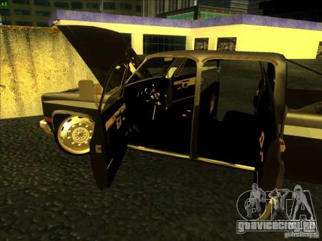 Chevrolet Silverado Towtruck для GTA San Andreas вид изнутри