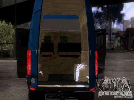 Volkswagen Crafter XL для GTA San Andreas вид изнутри