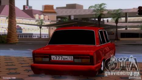 ВАЗ 2107 Тюнинг для GTA San Andreas вид сзади слева