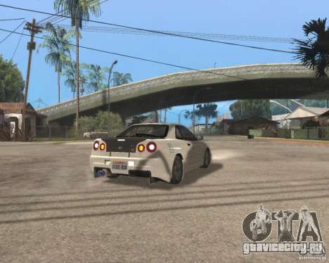 Nissan Skyline R-34 TUNED для GTA San Andreas вид сзади слева